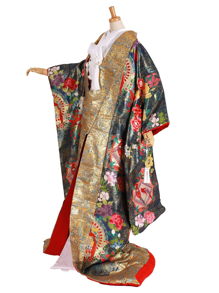 フルセット/鉄色に洋花の色打掛/標準サイズ