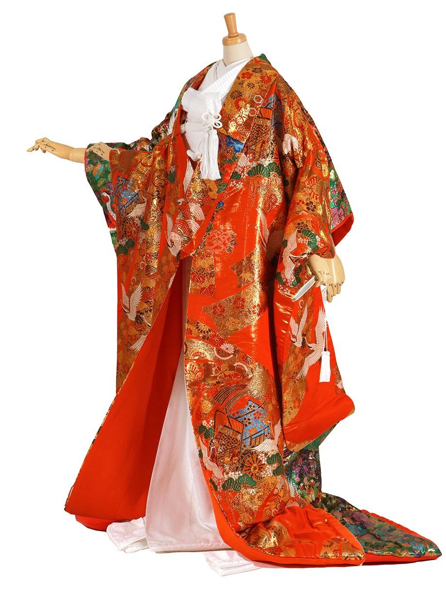 フルセット/朱色地に鶴と束ね熨斗の色打掛/標準サイズ