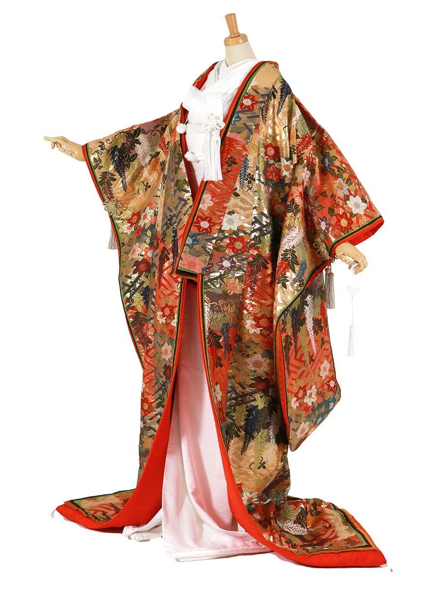 フルセット/紗綾形地に藤と桔梗 八重重ねの色打掛/標準サイズ