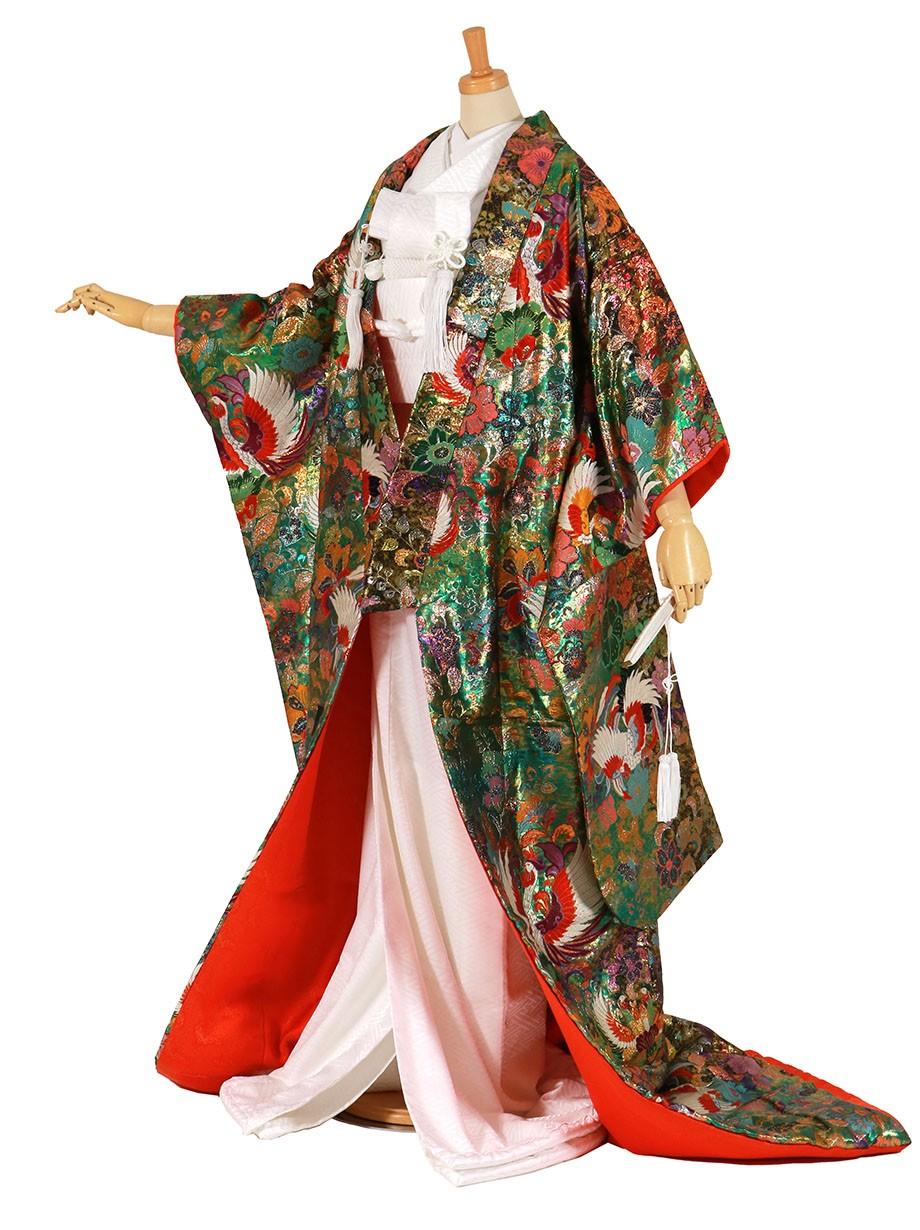 フルセット/桂由美 常磐色に鳳凰と唐花の色打掛/標準サイズ