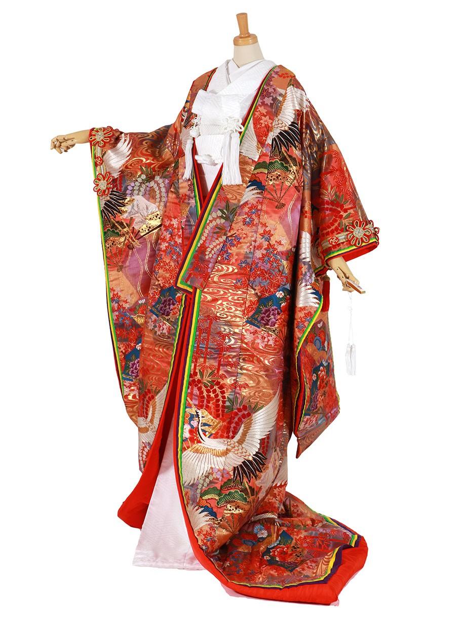 フルセット/朱色地に鶴と扇と観世水 八重重ねの色打掛/標準サイズ