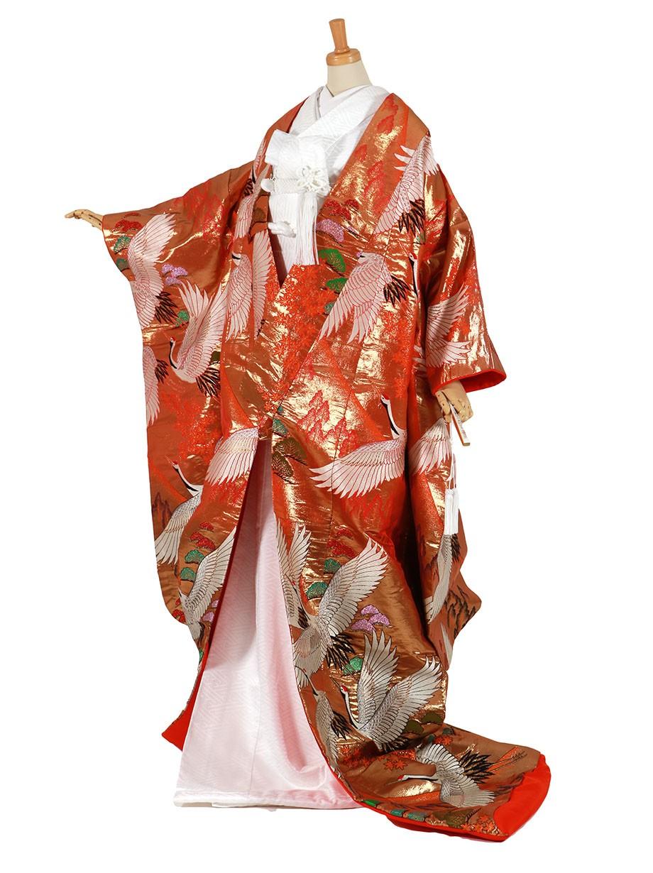 フルセット/朱金色地に鶴と紅葉 松の色打掛/標準サイズ