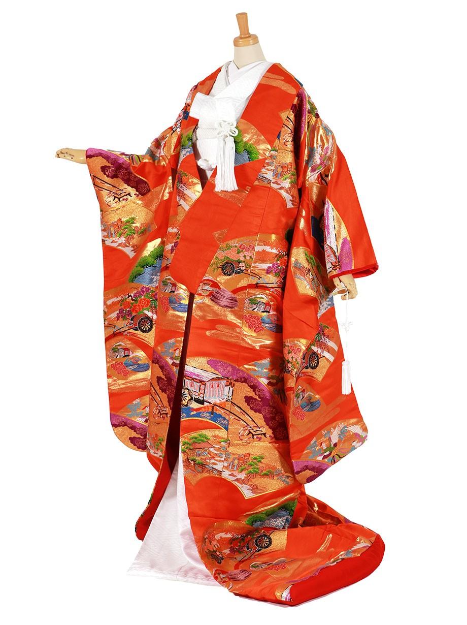 フルセット/オレンジ色地に扇面 鳳凰・貝合せ・花車の色打掛/標準サイズ