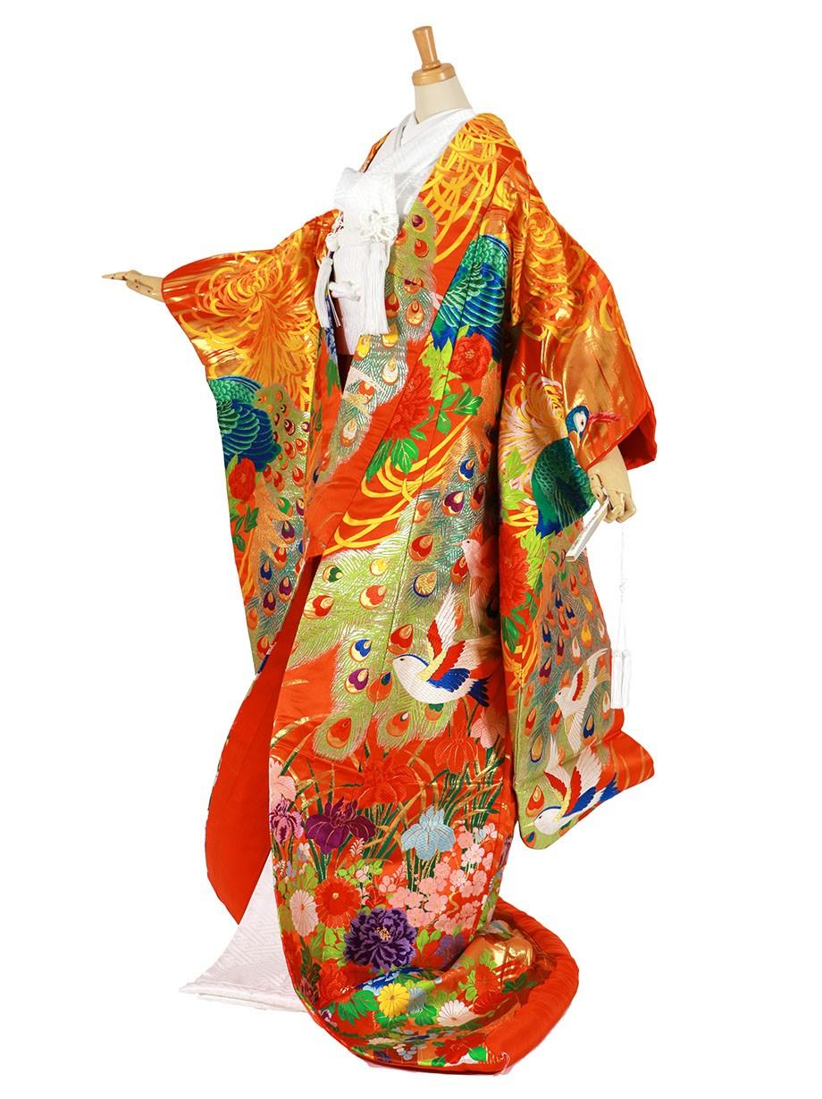 フルセット/オレンジ色地に孔雀と四季花の色打掛/標準サイズ