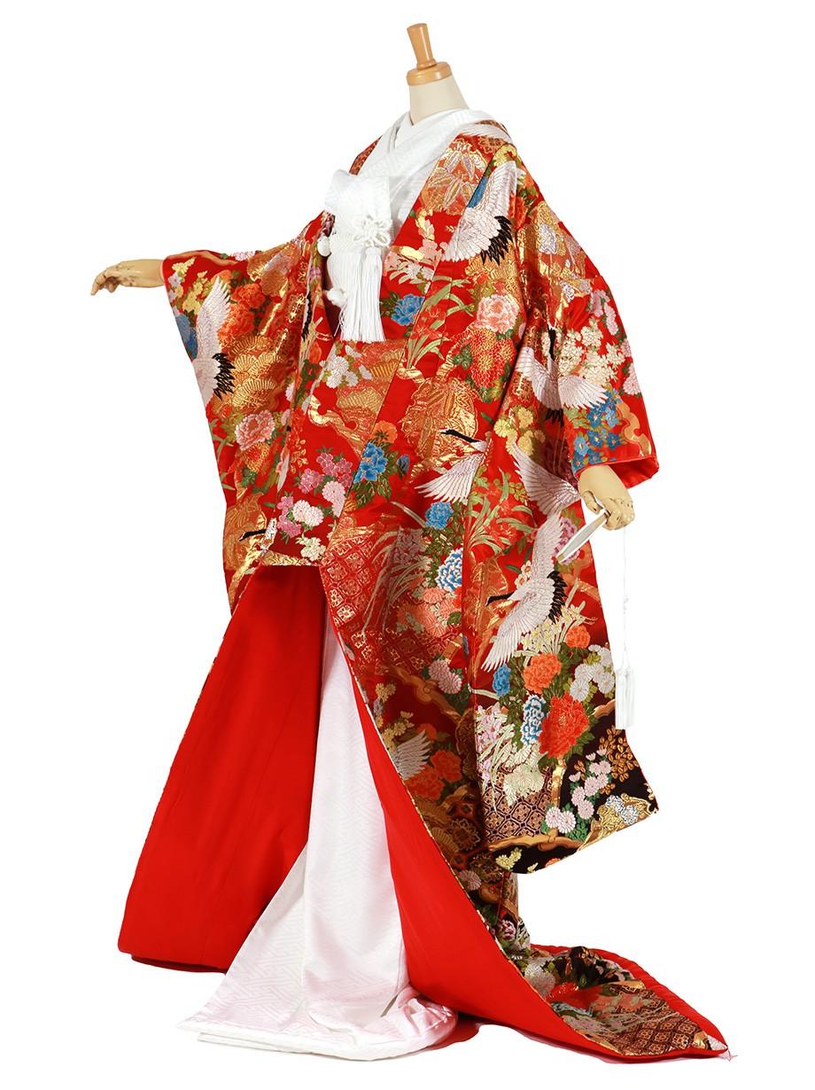 フルセット/赤地に鶴と雪輪重ね 四季花の色打掛/標準サイズ