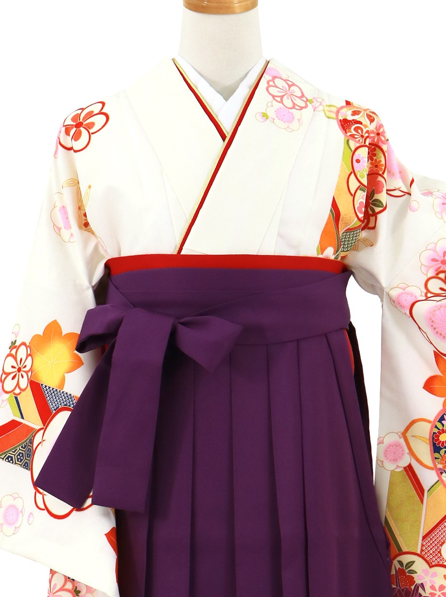 白地に橘と矢絣、本紫袴(無地)(二尺袖)/卒業式