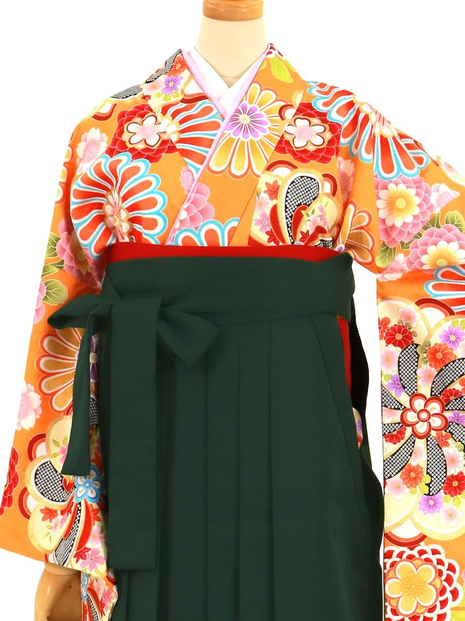 オレンジ地に花紋、深緑袴(無地)(二尺袖)/卒業式