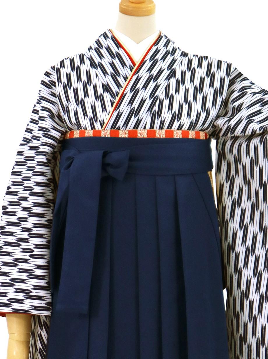 紺の小型矢絣・紺袴(無地)(二尺袖)/卒業式