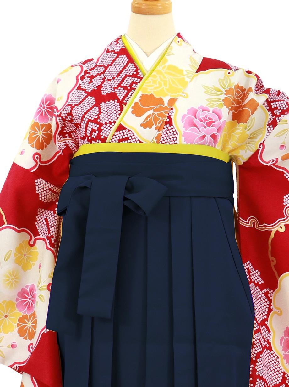 赤地に雪輪と牡丹、紺袴(無地)(二尺袖)/卒業式