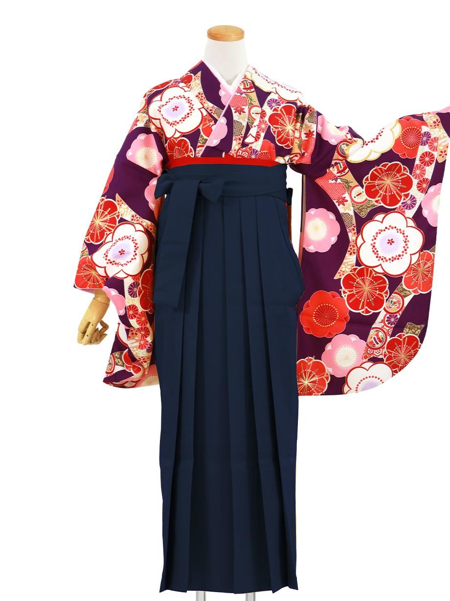 紫地に桜と短冊、紺袴(無地)(二尺袖)/卒業式