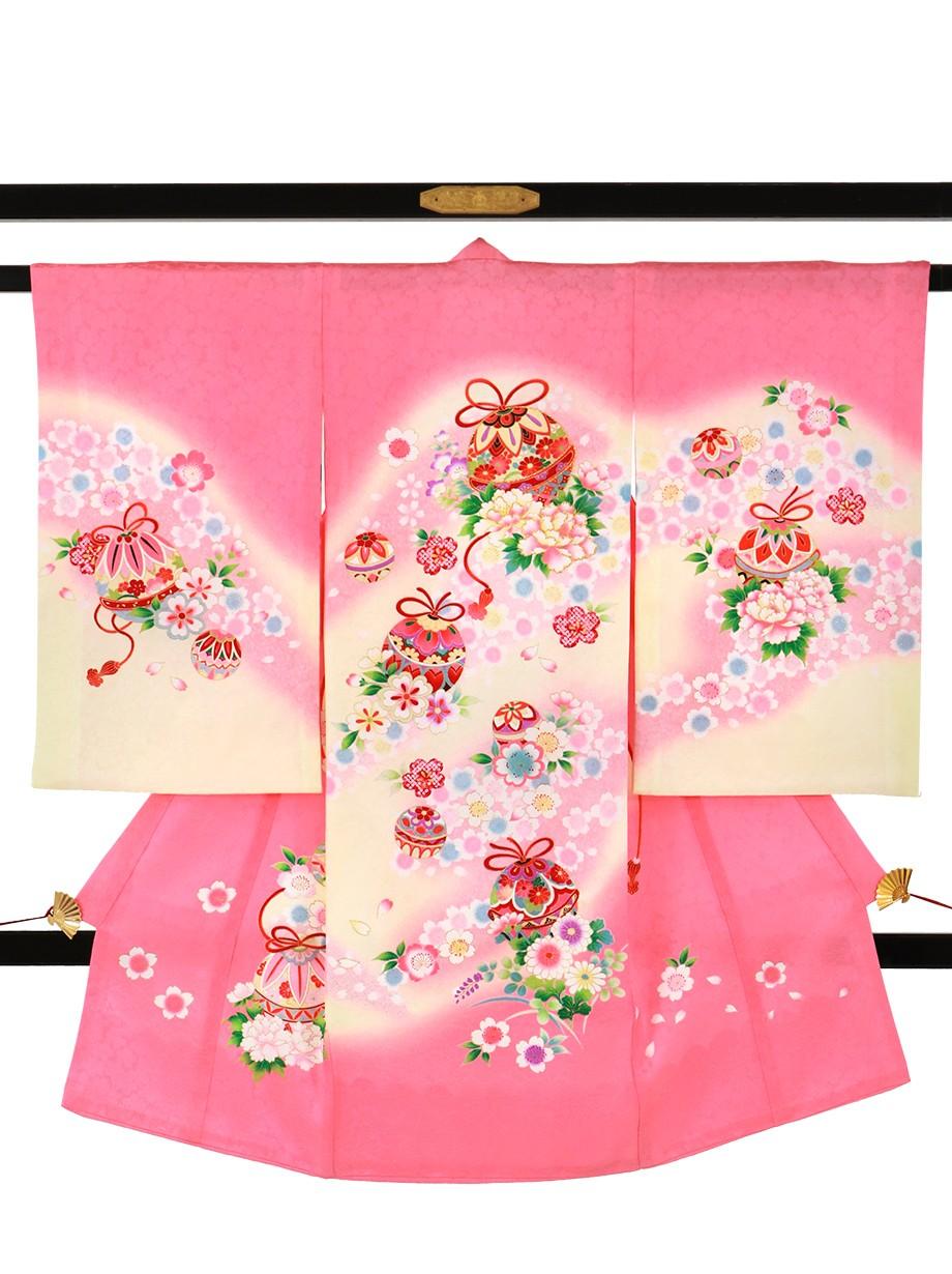 ピンク地に鈴と桜の祝い着(産着)/女児*