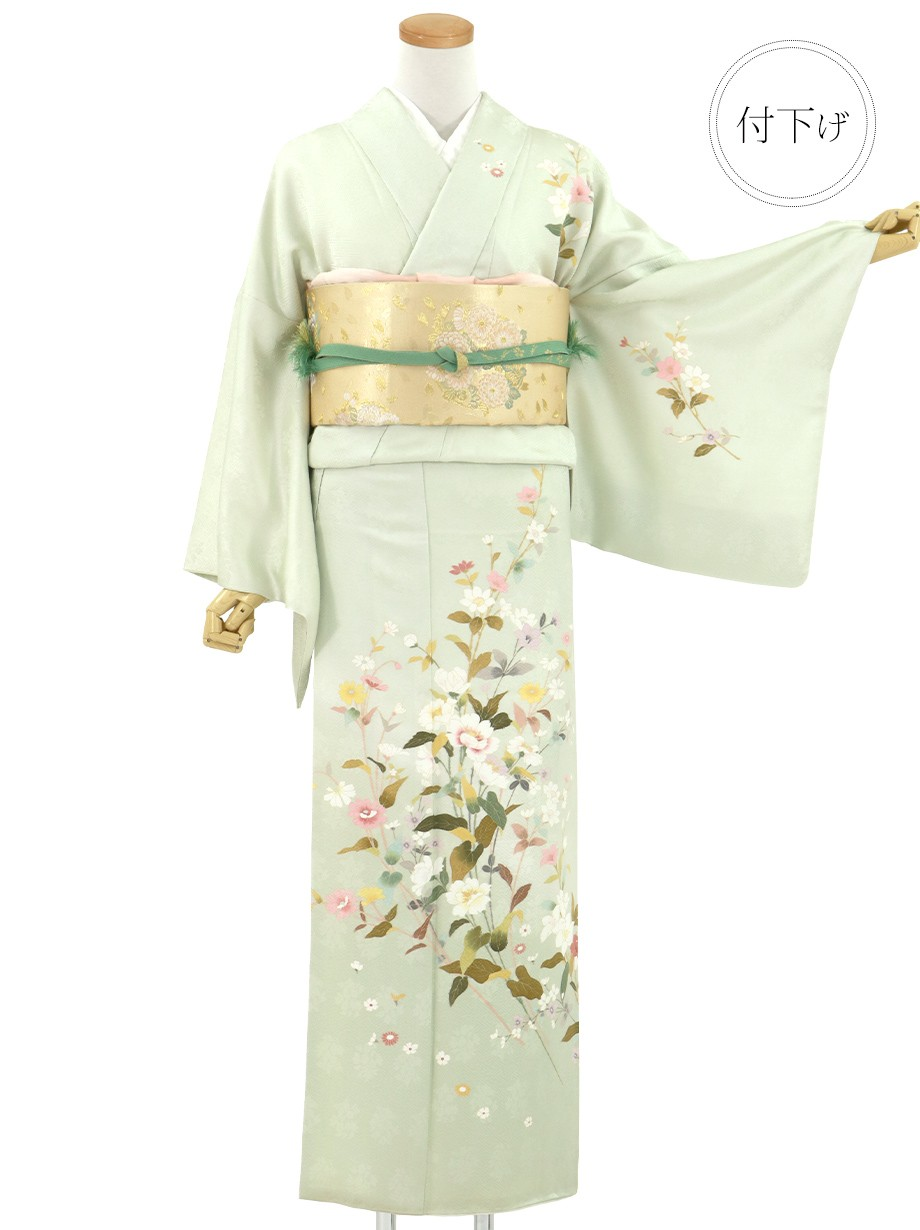 白緑(びゃくろく)色に四季花の付下(袷)