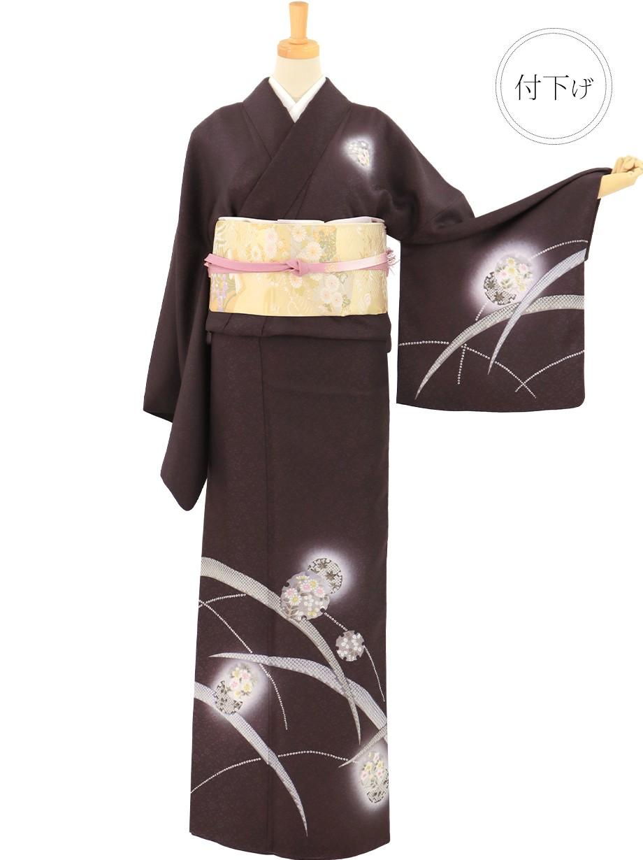 深紫(こきむらさき)に雪輪と芝草の付下(袷)