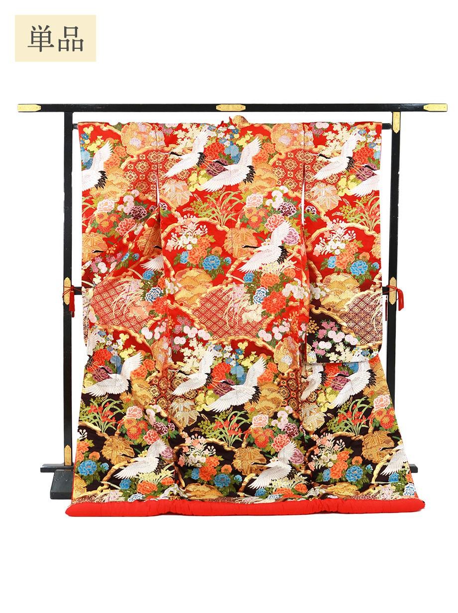 打掛単品/赤地に鶴と雪輪重ね 四季花の色打掛/標準サイズ
