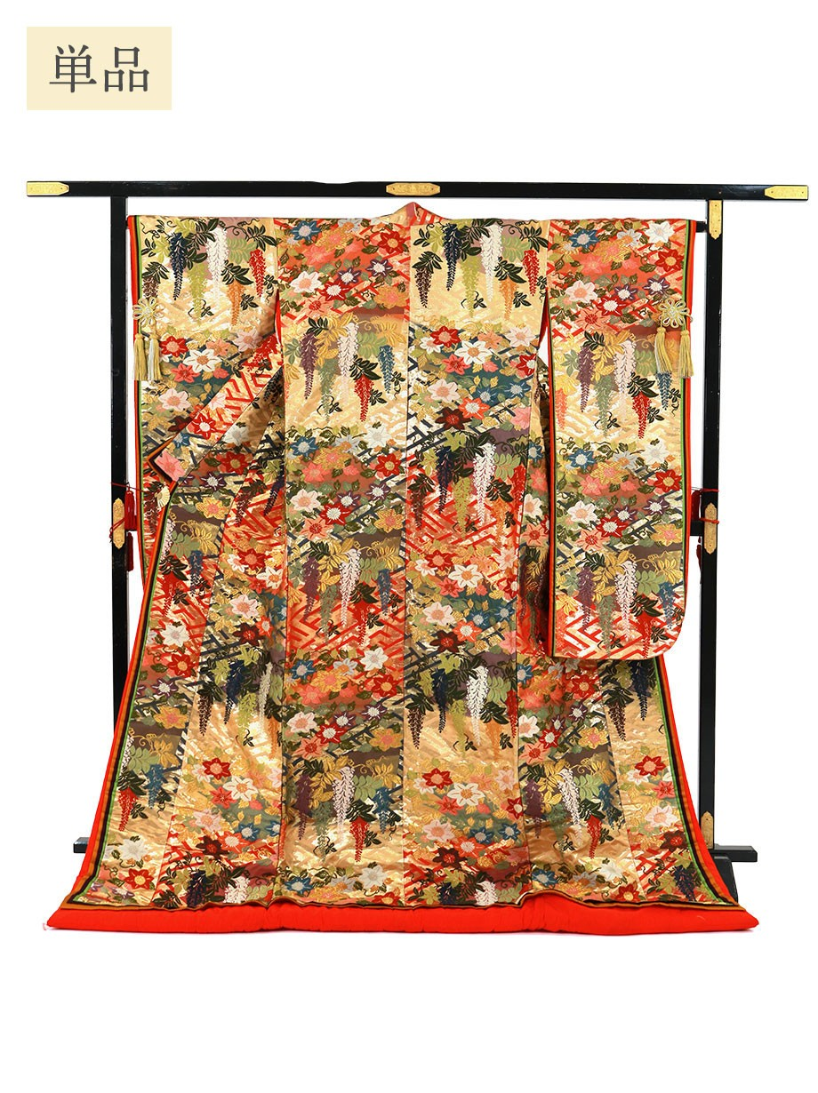 打掛単品/紗綾形地に藤と桔梗 八重重ねの色打掛/標準サイズ