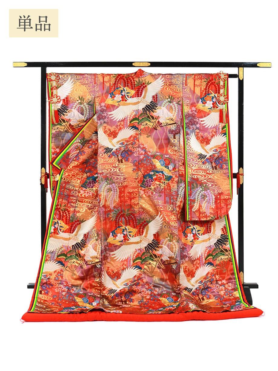 打掛単品/朱色地に鶴と扇と観世水 八重重ねの色打掛/標準サイズ