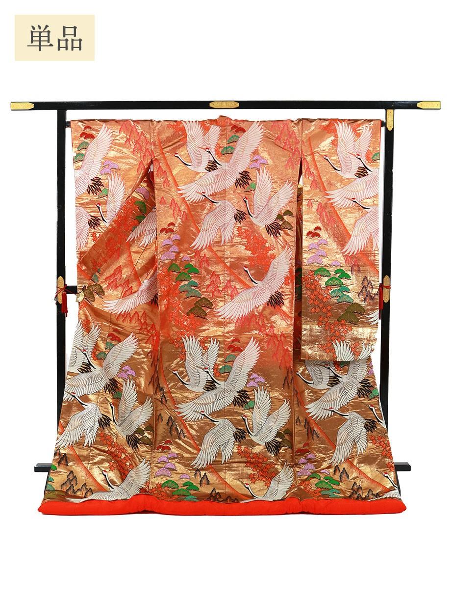 打掛単品/朱金色地に鶴と紅葉 松の色打掛/標準サイズ