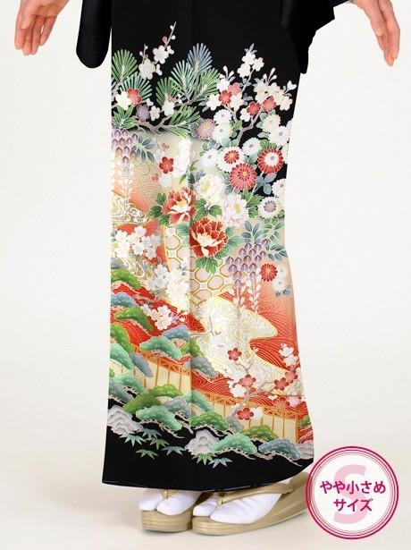 松竹梅に流水の黒留袖/小さめサイズ