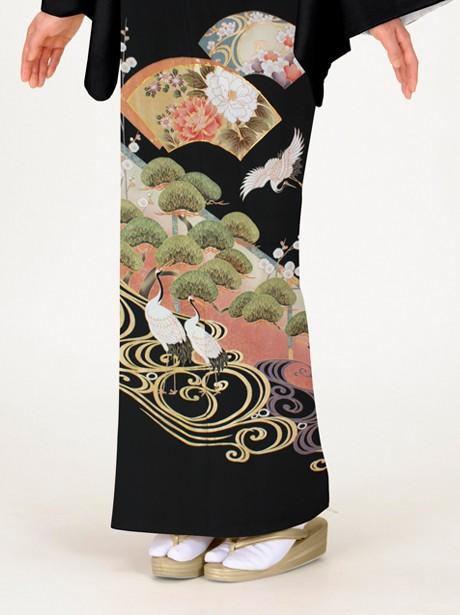 鶴に地紙の黒留袖