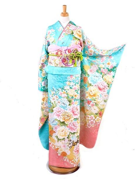 水色に花車と桜の振袖