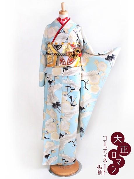 大正ロマンな鶴に梅の振袖