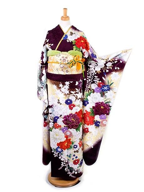 赤紫に松と桜に牡丹の振袖/標準サイズ