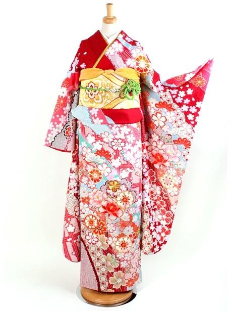 赤地に菊と梅の振袖/総絞り風