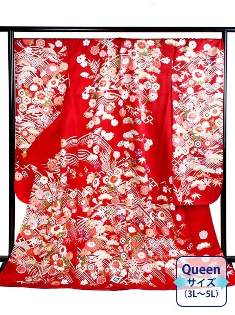 赤地に宝尽くしの振袖/Queenサイズ