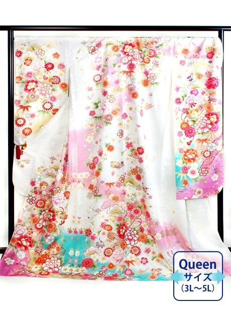 白地に鞠と牡丹の振袖/Queenサイズ