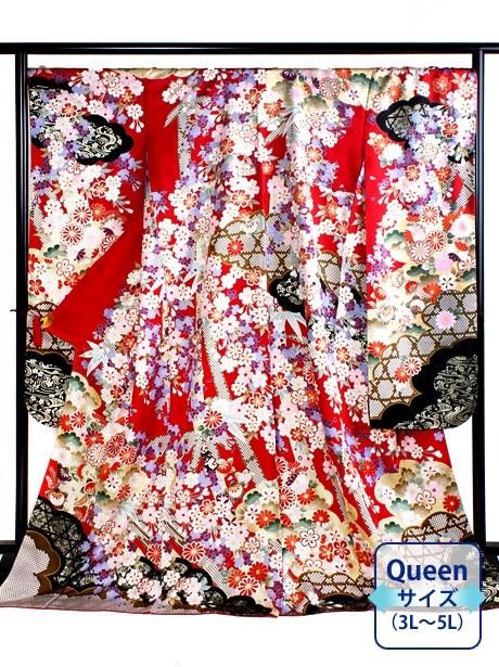 赤地に桜と染め疋田の振袖/Queenサイズ