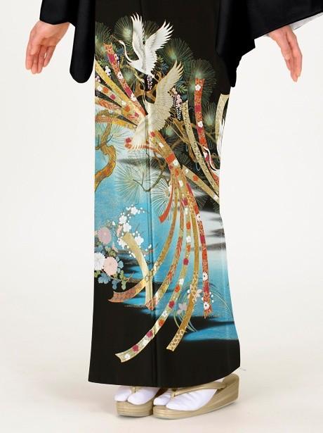 鶴に松と束ね熨斗の黒留袖