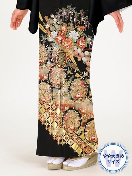 花車に扇子(おうぎ)と松の黒留袖/ワイドサイズ