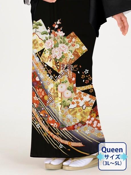 色紙に牡丹と菊の黒留袖/Queenサイズ