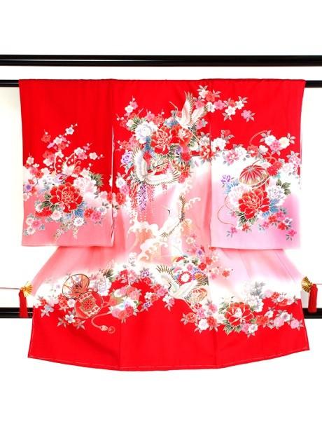 赤地に鶴と波頭の祝い着(産着)/女児