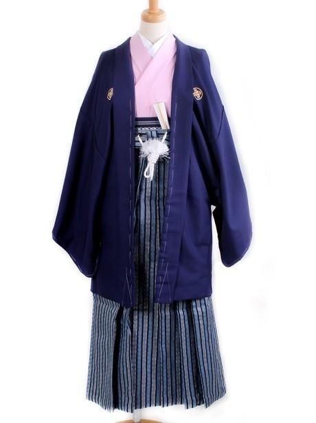 淡桃地に紺羽織・縞袴(小学生)/卒業式
