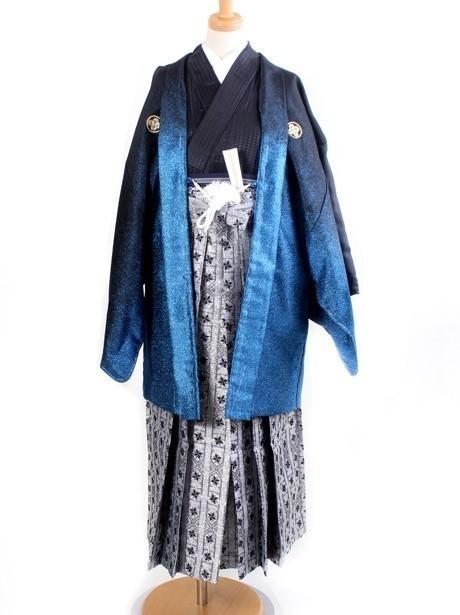 黒地にグラデーション羽織・銀袴(小学生)/卒業式