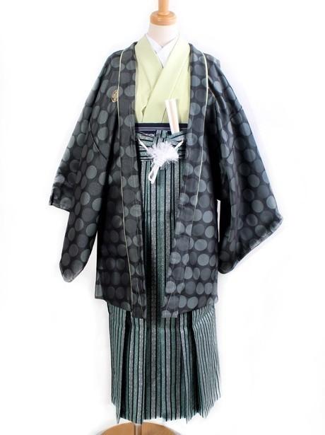 淡黄緑地に水玉羽織・縞袴(小学生)/卒業式