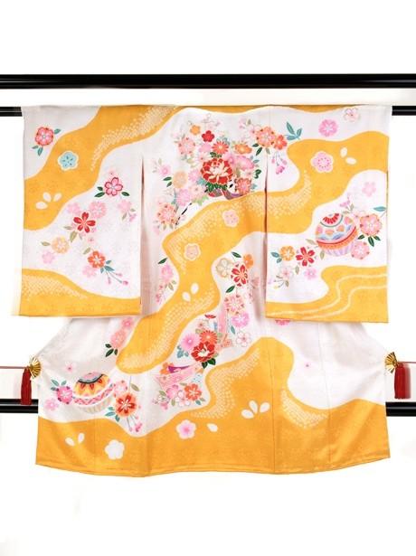 黄色と白の染め分けに花車の祝い着(産着)/女児