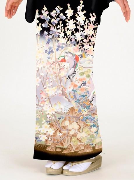 秋冬花模様に鴛鴦(おしどり)の黒留袖