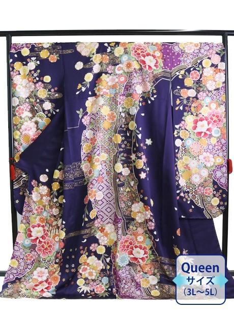紫地に牡丹と菊の振袖/Queenサイズ