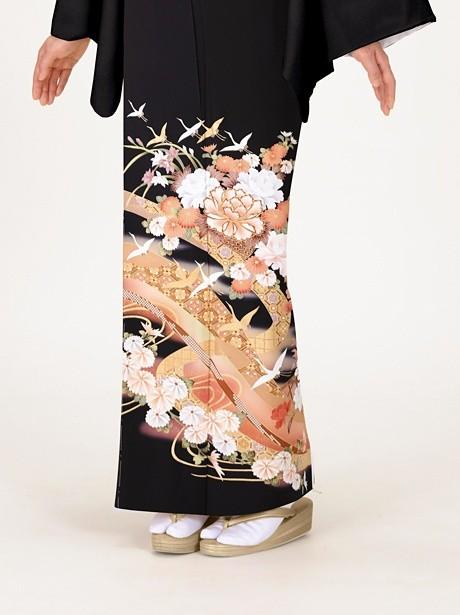 花籠と鶴の黒留袖