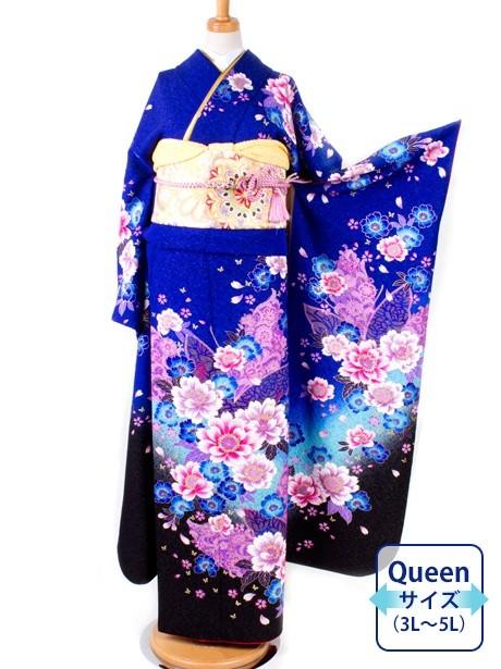 青地に小花の振袖/Queenサイズ