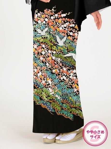 松竹梅と鶴の黒留袖/小さめサイズ