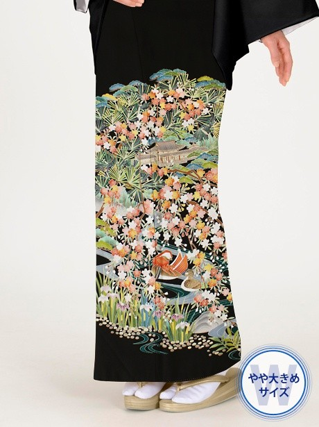 おしどり文の黒留袖/ワイドサイズ