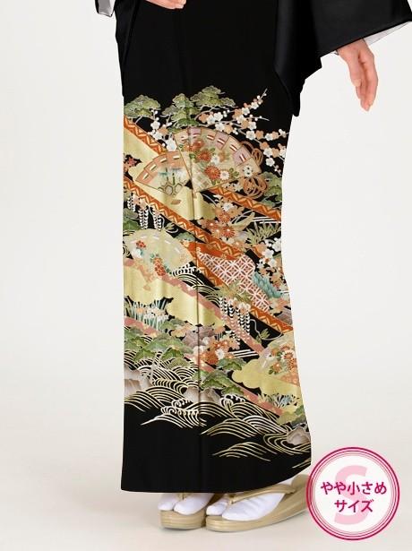 檜扇紋(ひおうぎもん)の黒留袖/小さめサイズ