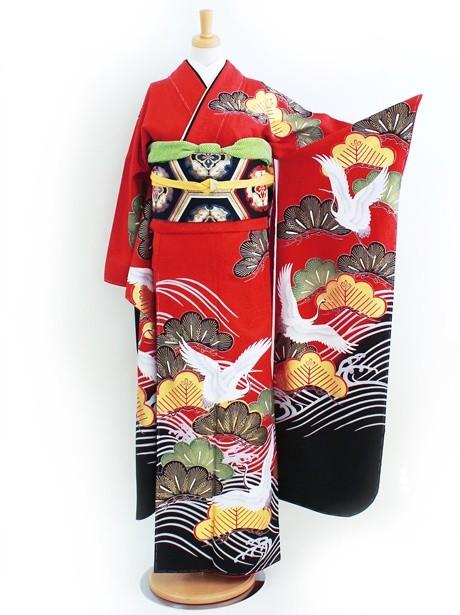 赤地に鶴と松の振袖
