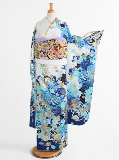 白地に桜と牡丹に薔薇の振袖/小さめサイズ