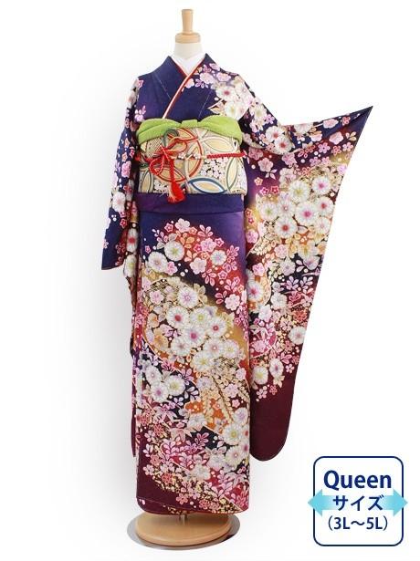 紺と紫地に辻が花風の振袖/Queenサイズ