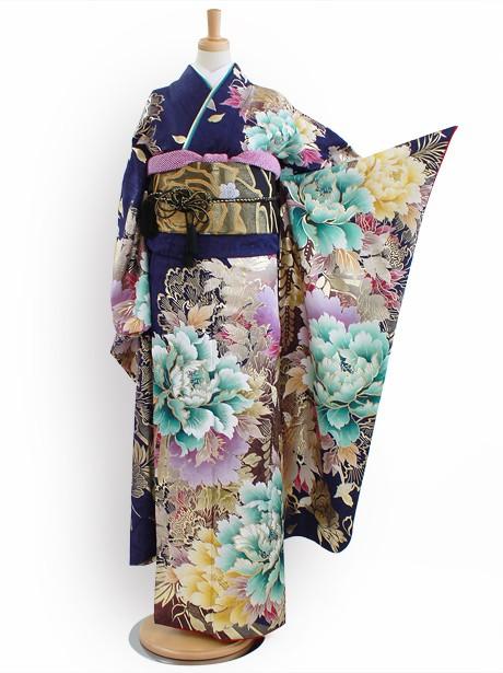 濃紺地に牡丹と藤の振袖/トールサイズ