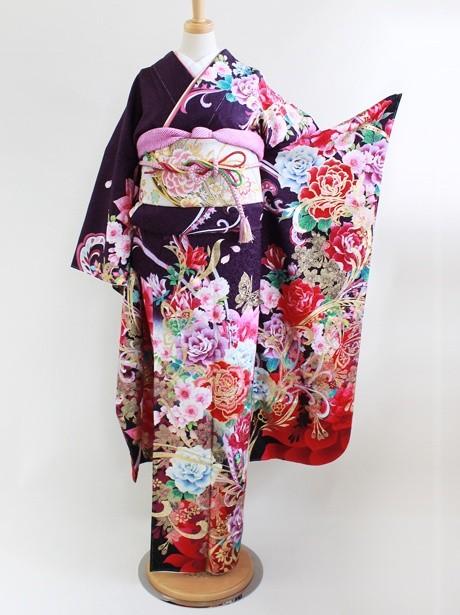 紫と白地に薔薇と桜の振袖/小さめサイズ
